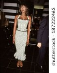 Small photo of Naomi Campbell in dress by Azzedine Alaia presents her signature fragrance, NY 6/14/00
