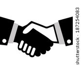 realistic handshake black and... | Shutterstock .eps vector #187254083