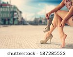 gold shoes and city | Shutterstock . vector #187285523