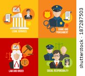 Legal services crime and punishment law and order social responsibility icons set isolated vector illustration
