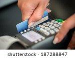 debit card swiping on card...   Shutterstock . vector #187288847