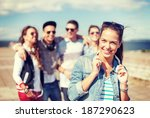 summer holidays and teenage... | Shutterstock . vector #187290623