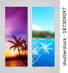 palm silhouettes cards | Shutterstock . vector #187309097