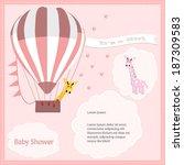 baby shower card  for baby girl ... | Shutterstock .eps vector #187309583