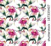 peonies seamless pattern | Shutterstock . vector #187335407