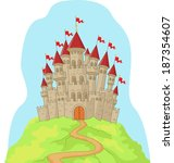 beautiful castle on the hill | Shutterstock .eps vector #187354607