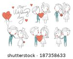 wedding card. bride and groom  | Shutterstock .eps vector #187358633
