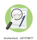 magnifying glass  pen and chart.... | Shutterstock .eps vector #187378877