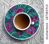 vector illustration with a cup... | Shutterstock .eps vector #187381913