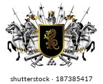 Heraldic shield with two riders on a white background