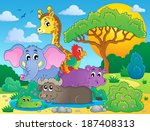 cute african animals theme... | Shutterstock .eps vector #187408313