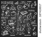 business hand drawn doodles in... | Shutterstock . vector #187410017