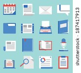 set of vector flat icons for... | Shutterstock .eps vector #187417913