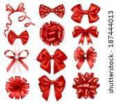 red ribbon bows | Shutterstock .eps vector #187444013