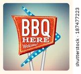 retro neon sign bbq lettering ... | Shutterstock .eps vector #187477223