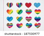 heart abstract icons signs and... | Shutterstock .eps vector #187530977