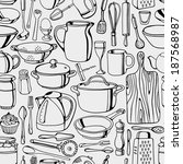 hand drawn kitchen tools... | Shutterstock .eps vector #187568987