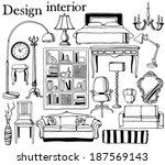 hand drawn furniture collection | Shutterstock .eps vector #187569143