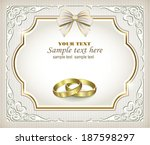 romantic card with wedding rings | Shutterstock .eps vector #187598297