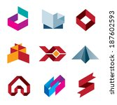 Business creative beauty icon set logo paper like objects