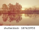 river landscape with sunset... | Shutterstock . vector #187623953