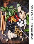mixed antipasti bread sticks ... | Shutterstock . vector #187651127
