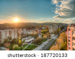 city view with a sunset ... | Shutterstock . vector #187720133