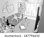 single man at his home after a... | Shutterstock . vector #187796633