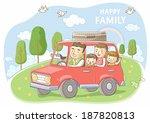 illustration of family on road... | Shutterstock . vector #187820813