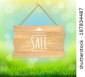 sale wooden board  with... | Shutterstock .eps vector #187834487
