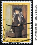 Small photo of FINLAND - CIRCA 1979: A stamp printed in Finland shows Aino Ackte, circa 1979