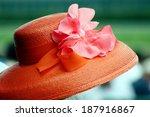 Orange Hat With Silk Flower...