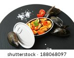 mussels cooked and served in a... | Shutterstock . vector #188068097