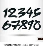calligraphic watercolor numbers | Shutterstock .eps vector #188104913