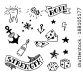 set of old school tattoos... | Shutterstock .eps vector #188105177