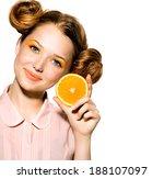 beauty model girl with juicy... | Shutterstock . vector #188107097