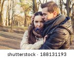 young happy couple hugging in...   Shutterstock . vector #188131193
