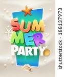 summer party poster design... | Shutterstock .eps vector #188137973