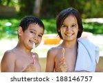 little boy brushing teeth in... | Shutterstock . vector #188146757