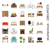 furniture icons flat design  ... | Shutterstock .eps vector #188149373