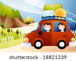 happy travel with cute friends  ... | Shutterstock .eps vector #18821239