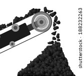 Coal arriving on a conveyor belt and poured into the coal pile. Illustration on white background.