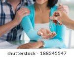 young family receiving keys... | Shutterstock . vector #188245547
