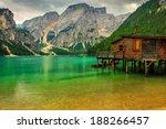 Hut On Braies Lake In Dolomiti...