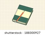 notebook and pencil isolated... | Shutterstock .eps vector #188300927