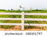 White Fence In Farm Field