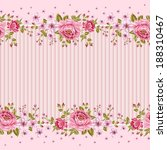 Seamless wallpaper pattern with of pink roses. Vector illustration.