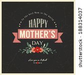 vintage happy mother's day card | Shutterstock .eps vector #188314037