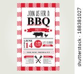 barbecue party invitation. bbq... | Shutterstock .eps vector #188381027