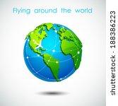 flying around the world  3d... | Shutterstock .eps vector #188386223